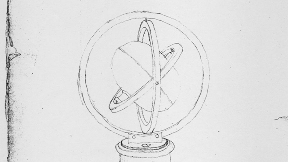 Bohnenberger's drawing of the gimballed gyro ...  (c) Württ. Landesbibl., Sig. Cod. Math. 4° 64a