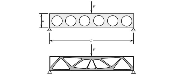 Shape optimization of a lightweight truss (c) Jörg F. Wagner following Olhoff, N.; Bendsoe, M.; Rasmussen, J. in Comput Methods Appl Mech Eng 89, S. 259-279