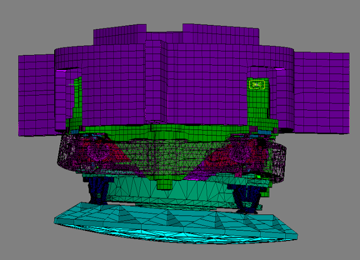 Vibration mode of the SOFIA secondary mirror mechanism in the Finite Element model (c) Benjamin Greiner