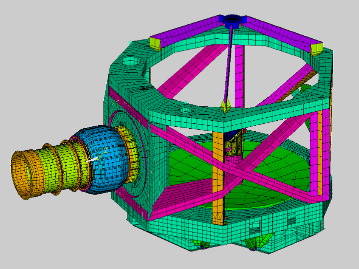 Metering Structure des SOFIA Teleskops mit Nasmyth Tube und Spiegeln (ANSYS Finite-Elemente-Modell) (c) Benjamin Greiner